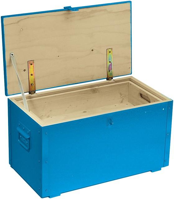 caisse outils en bois bleu avec couvercle sacoches coffres et caisses outils. Black Bedroom Furniture Sets. Home Design Ideas